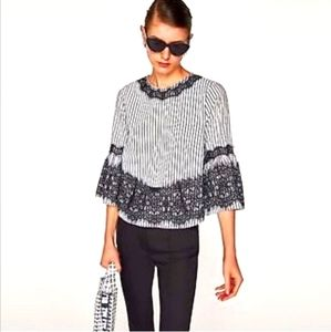ZARA Black and white lace  trimmed blouse.